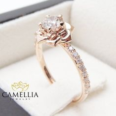 Flower Rose Unique Engagement Ring Right Hand Diamond Ring Rose Gold Band Sp. - Flower Rose Unique Engagement Ring Right Hand Diamond Ring Rose Gold Band Special Gift from camellia jewelry. Saved to Unique Engagement Ring. Engagement Ring Rose Gold, Vintage Engagement Rings, Halo Engagement, Disney Engagement Rings, Disney Wedding Rings, Vintage Rings, Pretty Rings, Beautiful Rings, Gold Bands