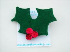 Holly Berries Felt Brooch by michellesstitches on Etsy