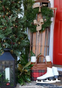 Vintage Red Plaid Thermos Picnic Bag and Decorated Christmas Porch by Between Naps on the Porch