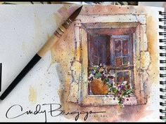 Cindy Briggs article for DANIEL SMITH, Watercolor Painting in Provence, Step by Step Window with Flowers Watercolor Branding, Watercolor Sketchbook, Watercolor Brushes, Watercolour Tutorials, Watercolor Techniques, Watercolor Paintings, Watercolors, Painting Techniques, Watercolor Ideas