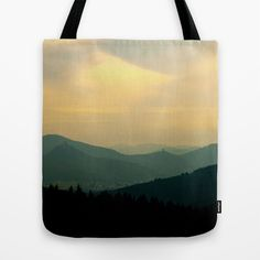 My wonderful homeland Tote Bag My hometown in the mountains of the Palatinate in a wonderful golden evening sunlight.   Landscape, mountains, Germany, castles, nature, silhouettes, cloudy, sky, dusk, twilight, nightfall, gloaming, black, yellow, pastel colors, hazy, misty, Trifels castle