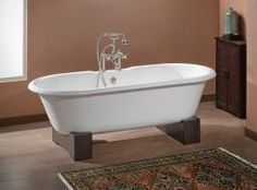 "Cheviot 2110w Regal 68"" Cast Iron Freestanding Clawfoot Tub With Wooden Base & Flat Area On Rim White - Choice Of 3 Feet Colors"