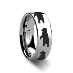 Animal Track Bear Print Ring Engraved Flat Tungsten Ring - 4mm - 12mm