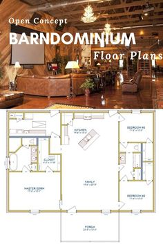 Looking for an open concept barndominium floor plan? A completely open kitchen and living room is one of the best features of the barndominium. Click through to view the best floor plans anywhere design plans layout dream houses Barn Homes Floor Plans, Metal Barn Homes, Pole Barn House Plans, Metal Building Homes, Pole Barn Homes, Shop House Plans, Barn Plans, New House Plans, Small House Plans