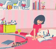 #kidsroom #kids #dog #retriever #labrador #labradorretriever #pink #girl #illustration #illustrator #tatsurokiuchi #life #lifestyle #happy #people