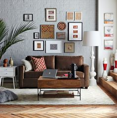 photo wall above sofa