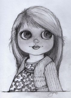 Pop Art Minis: #Sketches In Black & White! #Blythe Inspired Delights!