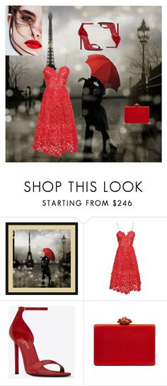 """Umbrella"" by desireervin ❤ liked on Polyvore featuring Amanti Art, self-portrait, Yves Saint Laurent and Oscar de la Renta"