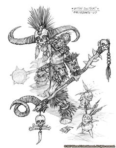 Early concept work for the Witch Doctor, by Mark Gibbons. Character Drawing, Character Concept, Concept Art, Dungeons And Dragons Characters, Fantasy Characters, Doctor Tattoo, Design Comics, Witch Doctor, Magic Art