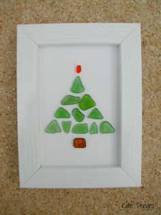 Pebble Driftwood Sea Glass Stone Pottery Art Painting Picture Made With Beach Finds CHRISTMAS TREE Winter Scene