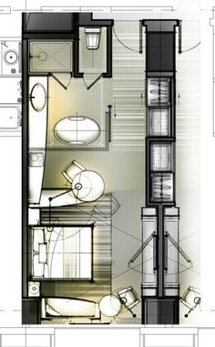 layout sketch from KanGtArt Design Hotel, House Design, Interior Design Sketches, Interior Rendering, Architecture Plan, Interior Architecture, Hotel Floor Plan, Planer Layout, Small Room Design