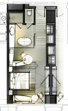 layout sketch from KanGtArt Interior Design Sketches, Interior Rendering, Design Hotel, Architecture Plan, Interior Architecture, Hotel Floor Plan, Planer Layout, Small Room Design, Room Planning