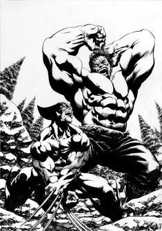 Wolverine vs The Hulk Comic Art