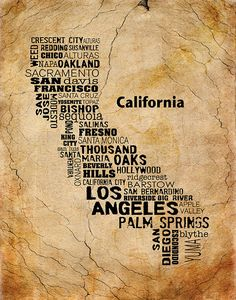 Cities of CALIFORNIA State, California Map Cities & Towns - Unique Vintage Style Typography Print, 8x10
