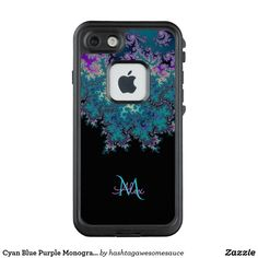Cyan Blue Purple Monogram #Fractal LifeProof® FRĒ® #iPhone 7 Case
