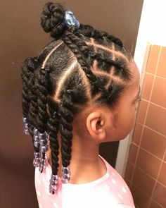 ✨Half up/ half down twist💦 Link to hair supply store in bio Products used: ✨curl smoothie ✨styler & oil… Easy Little Girl Hairstyles, Black Kids Hairstyles, Little Girl Braids, Baby Girl Hairstyles, Natural Hairstyles For Kids, Kids Braided Hairstyles, Natural Hair Styles, Toddler Hairstyles, Hairstyles Pictures