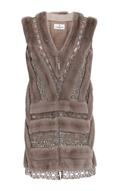 Let Out Mink And Metallic Graphic Lace Vest by J. Mendel for Preorder on Moda Operandi