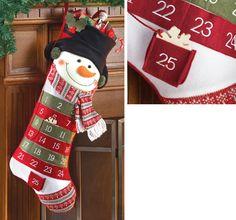 Snowman Christmas Advent Calendar Stocking