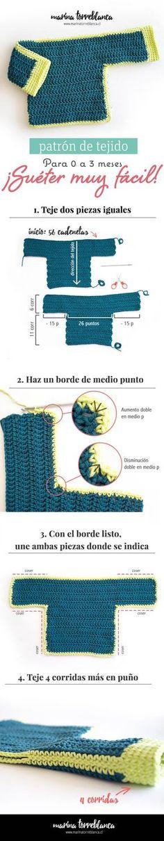 Patron gratis de tejido, sueter para bebe muy facil a crochet - Blog de marinatorreblanca.cl