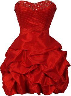 Amazon.com: Beaded Taffeta Mini Bubble Party Dress Prom Homecoming   Red
