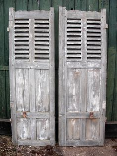 Pair of Italian shutters from Antique by Design Old Shutters, Living Room Lounge, Architectural Salvage, Lovely Things, Gates, Interior And Exterior, Balcony, Tall Cabinet Storage, Terrace