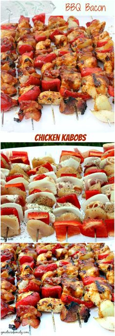 BBQ BACON Chicken Kabobs ~ These smoky yet sweet BBQ Bacon Chicken Kabobs require very little preparation and are easy to clean up.