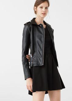 Zipped biker jacket - Jackets for Woman | MANGO Latvia