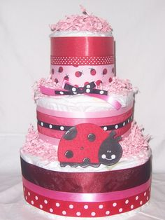 Diaper Cake with lots of Ribbon