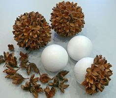 Cover styrofoam balls with dried seed pods.