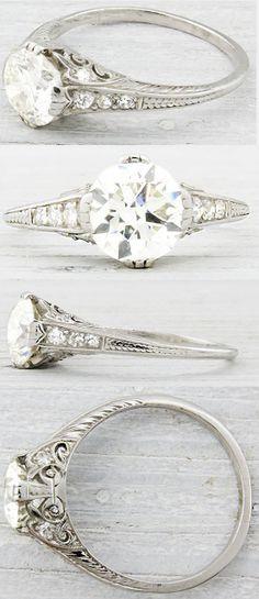 Erstwhile Jewelry Co., antique engagement rings, diamond rings, Art Deco, Edwardian, Belle Epoque, bride, bridal, wedding, princess, platinum, ribbon, twist, pave, engraving,