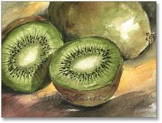 images of single fruit painting | fine art watercolor painting by julia swartz two kiwi