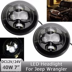 "Car Led Headlight 2X 7""  Running Light Hi-Lo Beam H4 H13 Projector 12V 24V Round For Jee-p Wrangler JK TJ Unlimited Lan-d Rover #Affiliate"