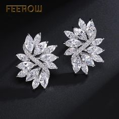 Flower Marquise Stone Cubic Zirconia Stud Earrings Sliver Color Fashion Jewelry For Women