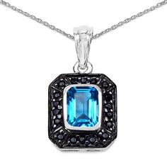 Olivia Leone Sterling Silver 2 2/5ct Swiss Blue Topaz and Black Spinel Pendant
