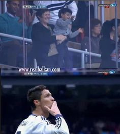Cristiano Ronaldo looks at his son Cristiano Ronaldo Jr.