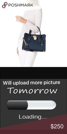 """NWT Michael kors Hamilton navy MSRP $298  Features: - Navy saffiano leather exterior - Accented with gold tone hardware  - MK lock and key on leather strap - Platform bottom with 4 feet - Magnetic snap closure - Dual saffiano leather top handles ( 4"""" drop) and shoulder strap (11 3/4"""" drop) attached to chain - Beige signature MK lining - One zipper pocket and two drop pockets - All pockets are trimmed with leather - Approximate Measurements: 9"""" (height) X 12 3/4"""" (length bottom) X 5 1/4""""…"""
