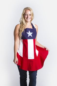 Whether you're proud to be an American or channeling your inner superhero, this Captain America-n Flag apron is the perfect combination of red, white, and blue.