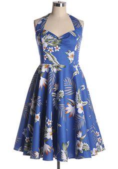 0a21c0c3320 Fun halter dress with tropical prints. cotton