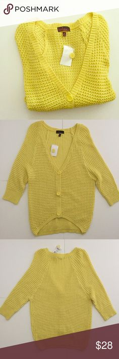 """Takeout Yellow Sparkle Knit Cardigan Lemon Yellow Knit Cardigan from Kohl's! Brand New with Tags!! Has a hi-lo front! Fabric has some silver sparkle flecks in it. 28 1/2"""" long on the back, front center is 22"""" long, 17 1/2"""" pit to pit, sleeves 9"""", neckline 10"""" deep. 94% acrylic, 4% polyester, 2% metallic. V-neck, chunky knit style, 3/4 length sleeves. Adorable! NO TRADES. takeout Sweaters Cardigans"""