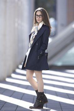 COS dress, Zara trench coat, Fraas scarf, Prada boots