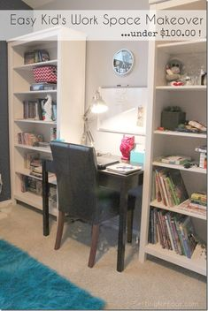 Easy Kid's Work Space Makeover - see how I organized and decorated my son's room with Ikea bookcases  and fun decor ideas - under $100! www.settingforfour