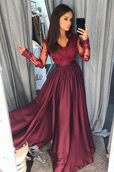 Burgundy lace long prom dress, long sleeve prom gown applique a-line Prom Dresses Long With Sleeves, Chiffon Evening Dresses, Prom Dresses With Sleeves, Cheap Evening Dresses, A Line Prom Dresses, Cheap Prom Dresses, Prom Party Dresses, Homecoming Dresses, Evening Gowns