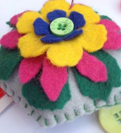 This item is unavailable Felt Pincushions, Green Colors, Colours, Blanket Stitch, Hexagon Shape, Sewing Accessories, Green Button, Tim Holtz, Felt Flowers