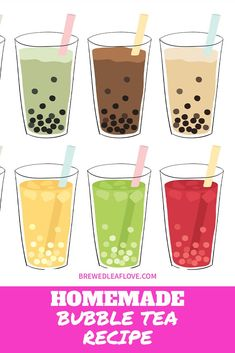 Bubble Tea How To Make Boba Tea At Home - Brewed Leaf Love Did you know you can make your own yummy bubble tea from this easy DIY recipe at home? Here's how to make homemade boba tea just like the tea shops. You can even add different flavors if you want! Milk Tea Recipes, Iced Tea Recipes, Bubble Tea Shop, Bubble Milk Tea, How To Make Boba, Boba Tea Recipe, Bubble Tea Flavors, Boba Pearls, Boba Drink