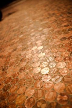 penny floor This is cute in a hall bathroom or on a counter top.