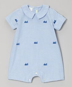 Take a look at this Blue Whale Gingham Romper - Infant by K&L on #zulily today!
