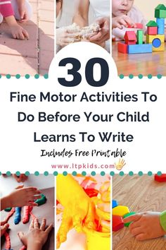 Do these 30 fine motor activities before your child learns to write to help develop their little hand muscles and improve motor control. Also available as a printable PDF list. Appropriate for preschool, pre-k, and kindergarten at home or in the classroom. #ltpkids Fine Motor Activities For Kids, Motor Skills Activities, Therapy Activities, Infant Activities, Writing Activities, Fine Motor Skills, Preschool Activities, Pre Writing, Kids Writing