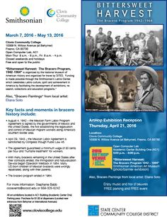 """Don't miss your chance to see, """"Bittersweet Harvest,"""" a bilingual (English/Spanish) exhibition from the Smithsonian explores the little-known story of the Bracero program; the largest guest worker program in U.S. history at Clovis Community College through May 13th."""