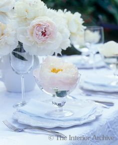 white peony in compote for place settings