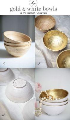diy gold/white bowls